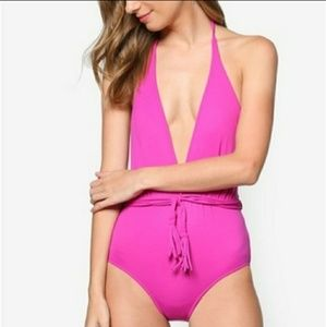 NWT Seafolly Deep V Maillot Wild Orchid Swimsuit